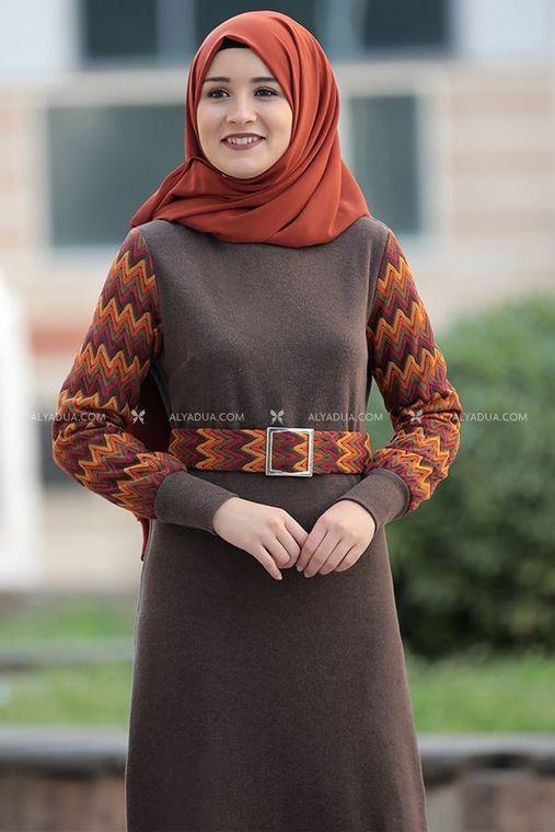 Kahverengi Minel Elbise - RZ14188