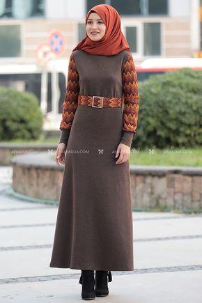 Rana Zenn - Kahverengi Minel Elbise - RZ14188