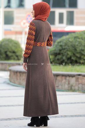 Kahverengi Minel Elbise - RZ14188 - Thumbnail