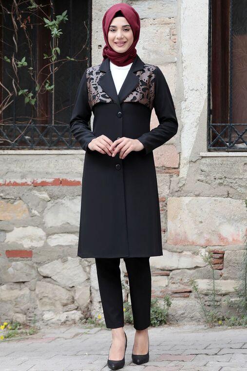 Rana Zenn - Kahverengi Sude Deri Kap Ve Pantolon - RZ15578