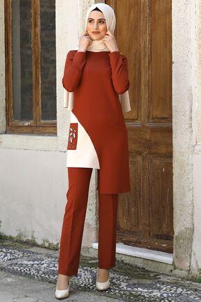 Nidya Moda - Kiremit Şehrazat İkili Takım - NM16048