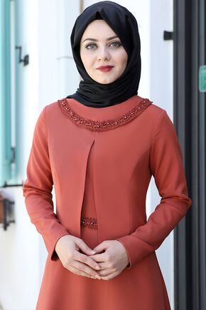 Kiremit Ayliz Elbise - AHU15957 - Thumbnail
