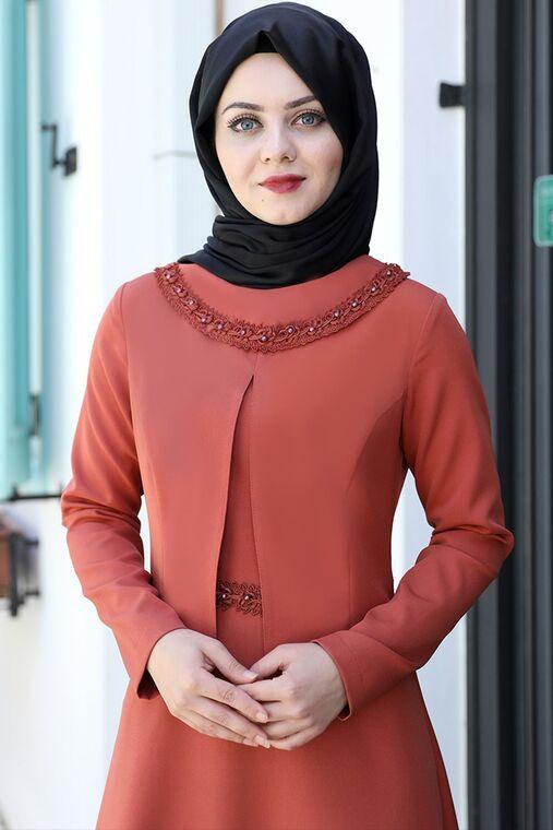 Kiremit Ayliz Elbise - AHU15957