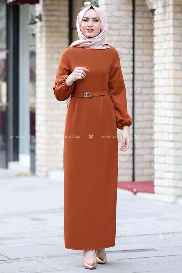 Alyadua - Kiremit Balon Kol Elbise - AD13586