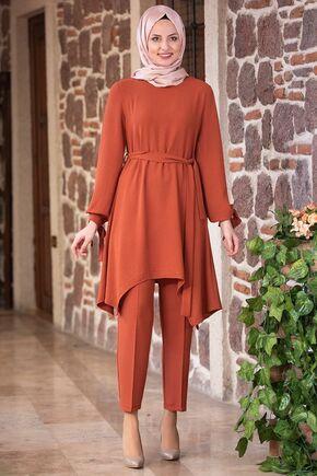Fashion Showcase - Kiremit Beli Bağcıklı Çarpraz Takım - FS15432