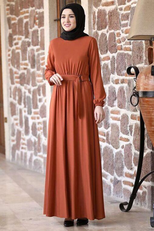Rana Zenn - Kiremit Ceren Elbise - RZ15824
