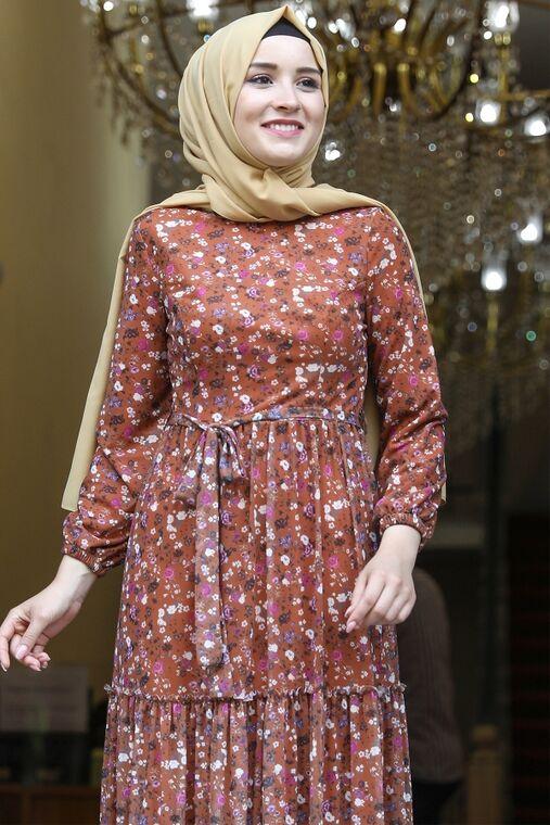 Kiremit Çiçekli Elbise - AMH16283