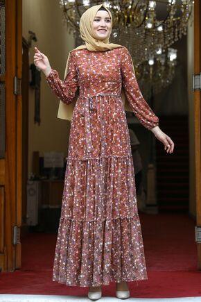 Amine Hüma - Kiremit Çiçekli Elbise - AMH16283