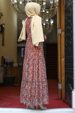 Kiremit Çiçekli Elbise - AMH16283 - Thumbnail