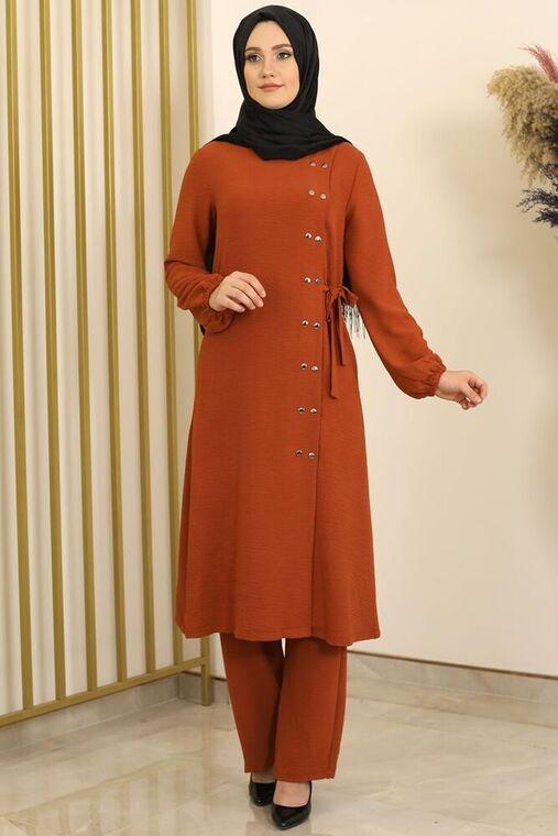 Fashion Showcase - Kiremit Çıtçıt Detay İkili Takım - FS16391