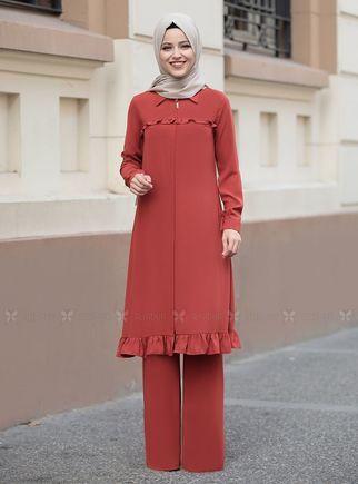 Dress Life - Kiremit Sare Uzun Kap Tunik - DL14280
