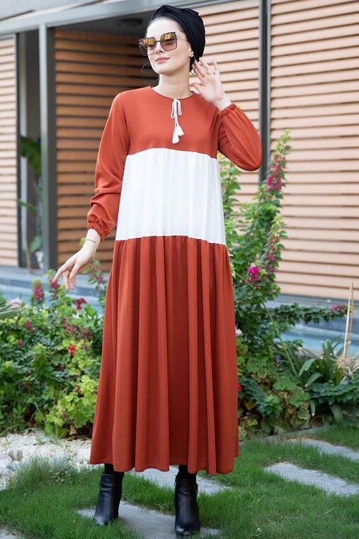 Selma Sarı - Kiremit Farah Elbise - SES15381