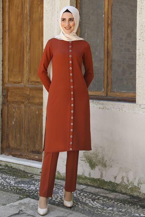 Nidya Moda - Kiremit İkra İkili Takım - NM16056