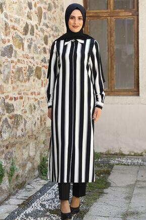 Nidya Moda - Siyah Çizgili Tunik - NM16057