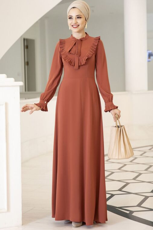 Dress Life - Kiremit Irmak Elbise - DL16173