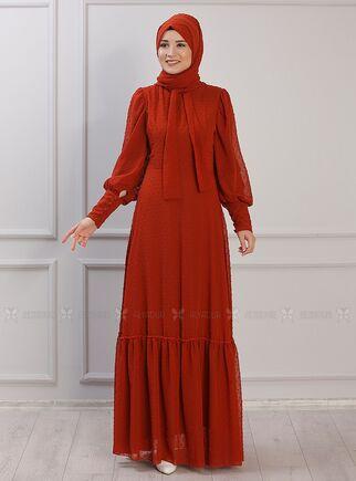 Kiremit Işıl Elbise - RZ15338 - Thumbnail