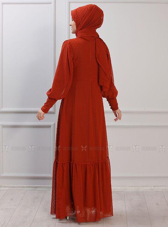 Kiremit Işıl Elbise - RZ15338