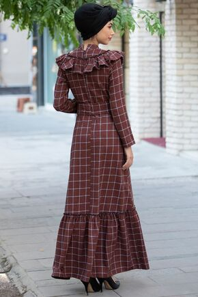 Kiremit Kareli Ekose Elbise - PN15470 - Thumbnail