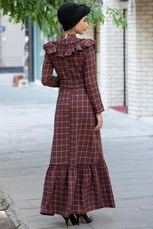 Kiremit Kareli Ekose Elbise - PN15470