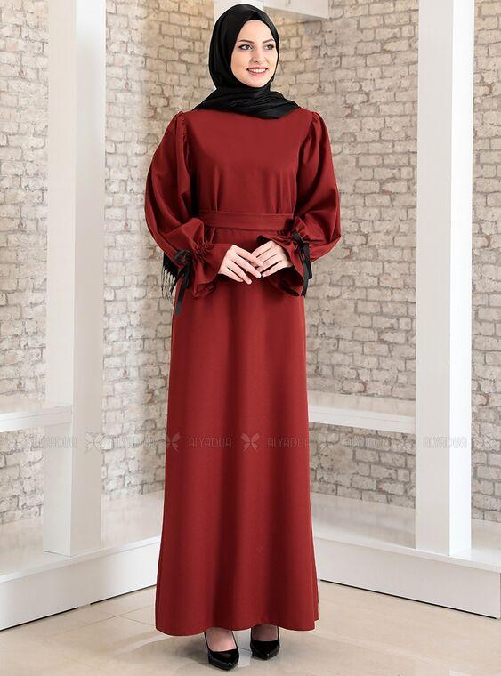 Fashion Showcase - Kiremit Kolu Bağcıklı Tesettür Elbise - FS15217