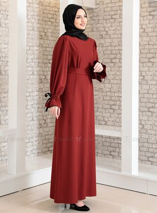 Kiremit Kolu Bağcıklı Tesettür Elbise - FS15217 - Thumbnail