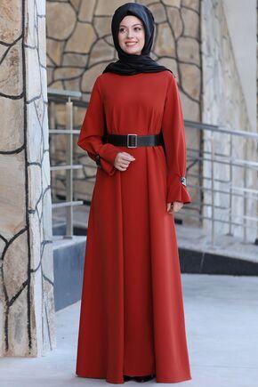 Semra Aydın - Kiremit Naz Elbise - SA15595