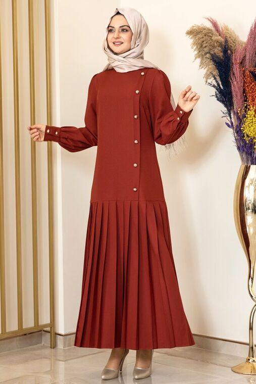 Fashion Showcase - Kiremit Piliseli Damla Elbise - FS15846