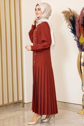 Kiremit Piliseli Damla Elbise - FS15846 - Thumbnail