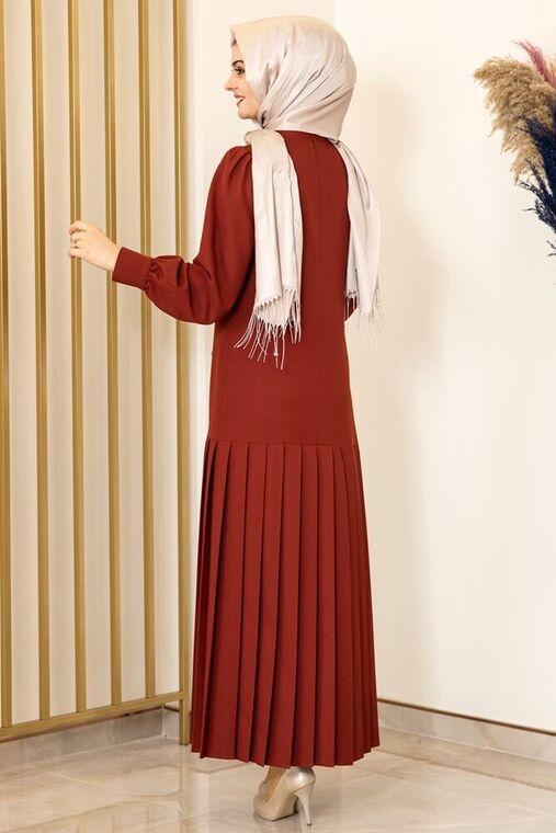 Kiremit Piliseli Damla Elbise - FS15846