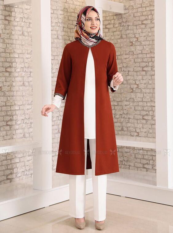 Fashion Showcase - Kiremit Taş Detay Üçlü Takım - FS15024