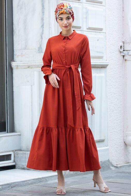 Piennar - Kiremit Vera Büzgülü Elbise - PN15602