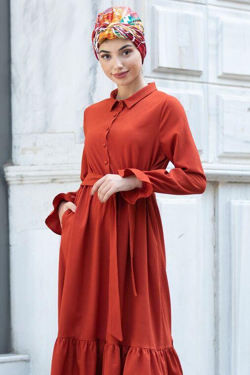 Kiremit Vera Büzgülü Elbise - PN15602