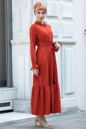 Kiremit Vera Büzgülü Elbise - PN15602 - Thumbnail