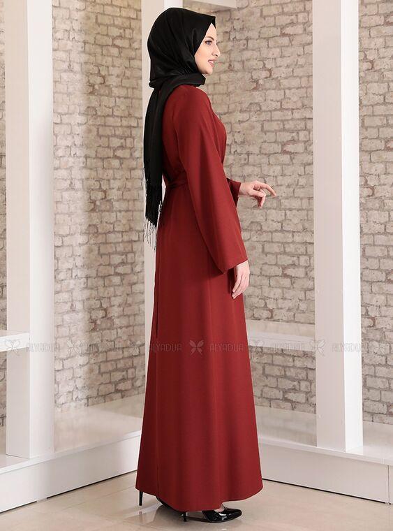 Kiremit Yonca Abaya Elbise - FS15211