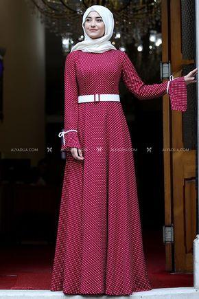 Kırmızı Afife Elbise - RS13845 - Thumbnail
