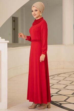 Kırmızı Eslem Elbise - DL15688 - Thumbnail