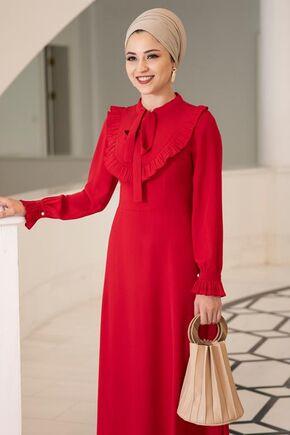 Kırmızı Irmak Elbise - DL15676 - Thumbnail