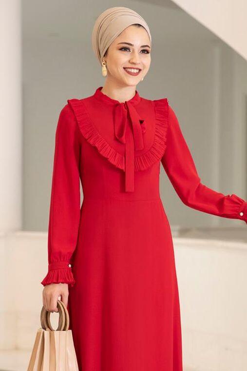 Kırmızı Irmak Elbise - DL15676