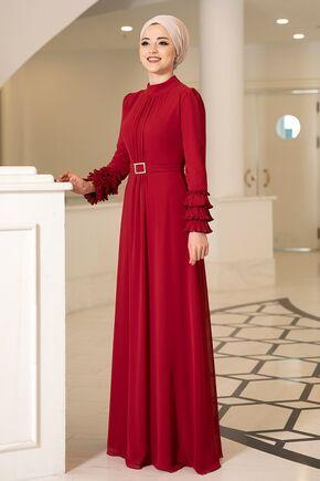 Kırmızı Lina Elbise - DL16118 - Thumbnail