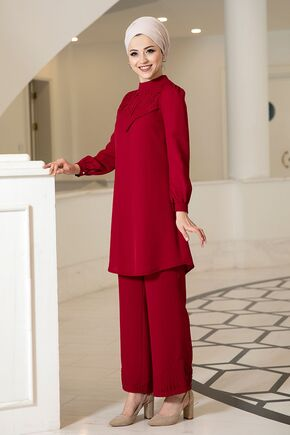Dress Life - Kırmızı Oya İkili Takım - DL16138