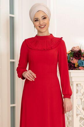 Kırmızı Selin Elbise - DL16165 - Thumbnail