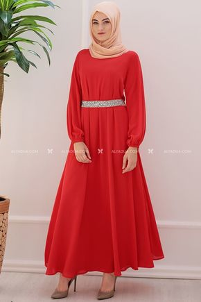 Kırmızı Taşlı Abiye - ES11983 - Thumbnail