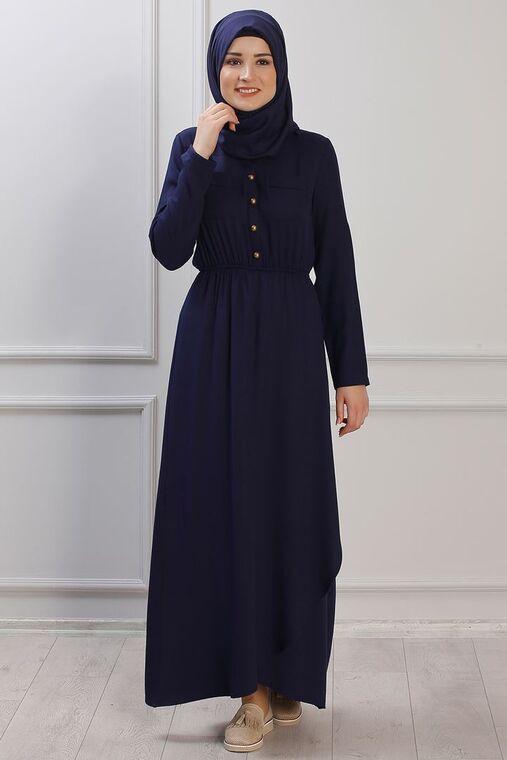 Rana Zenn - Lacivert Ayça Elbise - RZ153384