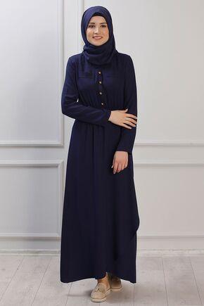 Lacivert Ayça Elbise - RZ153384 - Thumbnail