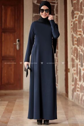 Rana Zenn - Lacivert Beste Elbise - RZ12863