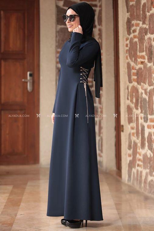 Lacivert Beste Elbise - RZ12863