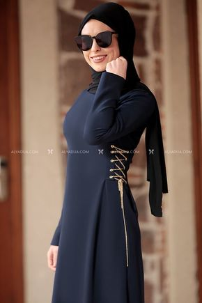 Lacivert Beste Elbise - RZ12863 - Thumbnail
