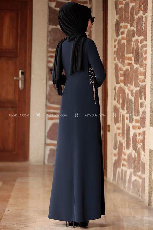 - Lacivert Beste Elbise - RZ12863 (1)