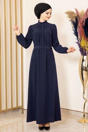 Fashion Showcase - Lacivert Büzgülü Elbise - FS15875