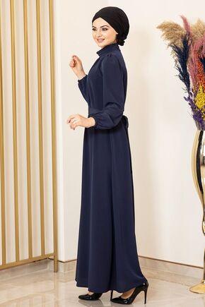 Lacivert Büzgülü Elbise - FS15875 - Thumbnail